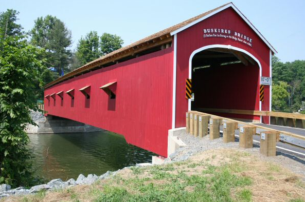 Jay Bridge, built in 1851, spans 175 feet over the Ausable River in Jay New York